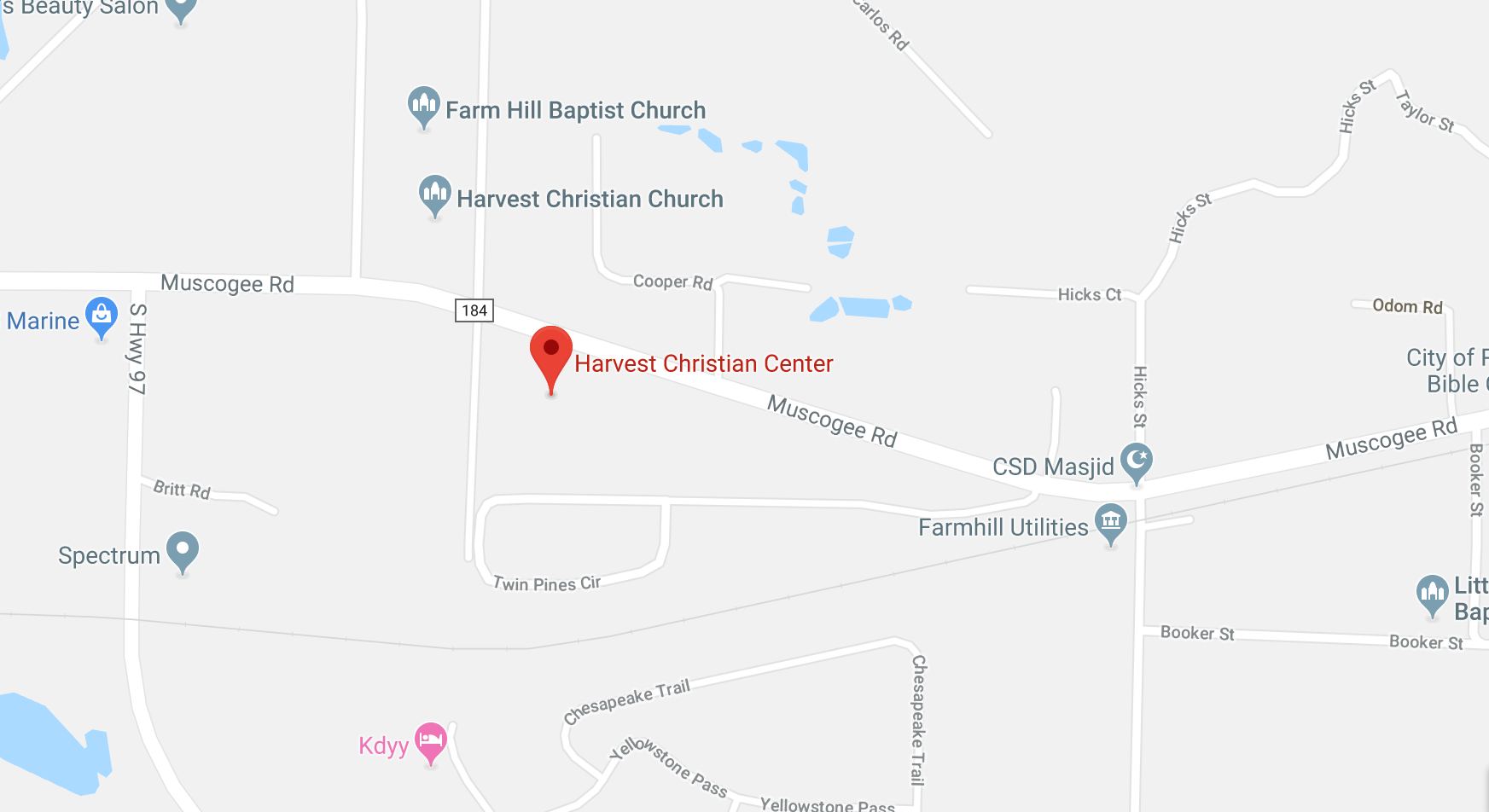 map of harvest Christian center in florida
